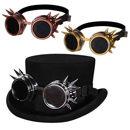 Jannes 1878 Steampunk-Brille Deluxe mit Stacheln Schweißerbrille mit Gummiband Steampunk Gothic Barock Zahnrad Metall Kupfer Viktorinisch Zukunft Zahnräder Industrial Einheitsgröße Kupfer