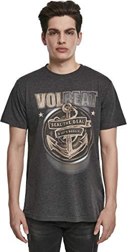 MERCHCODE Jungen Volbeat Seal The Deal Tee 1012_t-Shirt Kurzarm, Charcoal, L (Das Leben Für Ist Gut-shirt Jungen)