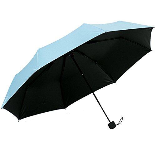 Beetest Sonnenschutz Regenschirm Sonnenschirm mit Aufbewahrungstasche,Damen,Anti UV,Tragbar Falten,Blau