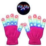 Charlemain LED Handschuhe Kinder,6 Modus, blinkende Handschuhe Spielzeug für Weihnachten, Halloween, Konzert, Geschenke, kleine LED Handschuhe für Kinder, Mädchen, Junge, Geschenk(5-10 Jahre)
