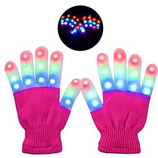 LED Guantes, Guantes de Mano Iluminados, Dedos Parpadeantes Guantes Coloridos con 6 Modos de Iluminación para Festivales /Halloween /Navidad /Fiesta /Juegos /Regalo, para Niños (5-10 Años ) Rosa