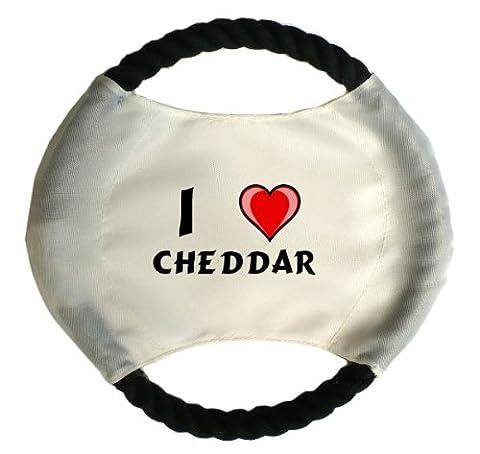 Personalisierter Hundefrisbee mit Aufschrift Ich liebe Cheddar (Vorname/Zuname/Spitzname) (Weißer Cheddar)