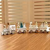 Tofree Christmas Train mini trenino in legno per decorazioni fai da te regalo per bambini bianco White Average