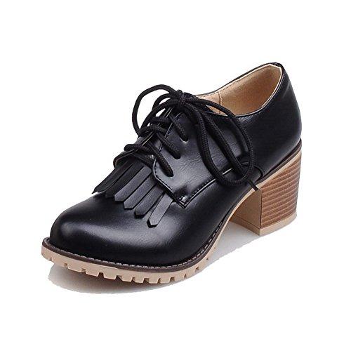 Noir Chaussures Légeres VogueZone009 Rond Talon Couleur Lacet Correct Femme Unie à Hqzvx
