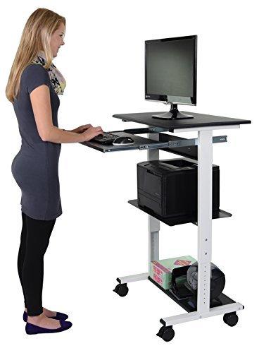 Mobiler ergonomischer Stand-up-Computerschreibtisch (Schwarz / Weiß, Schreibtisch Länge: 75cm)