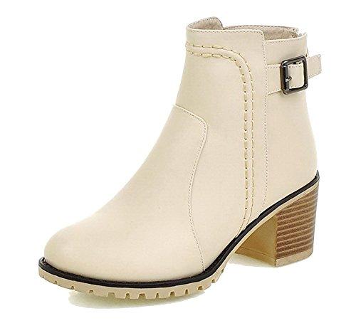 3b7b50d99f5ac AgeeMi Shoes Donna Scarpe a Chiusa Tacco a Blocco Zip Inverno Corti Stivali