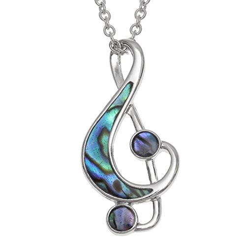 Kiara Schmuck Musik Note Anhänger Halskette mit Blaue grün intarsiert Paua Abalone Shell auf 45,7 cm Trace Kette. Nicht trüben Silber Farbe, Rhodiniert.