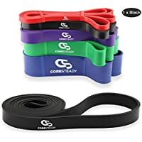 Coresteady Resistance Band - Assisted Pull Up Band - Single Exercise Workout Band for CrossFit – Powerlifting – Yoga – Stretch Mobility for Men and Women (BLACK/LIGHT)