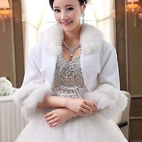 Matrimonio avvolge / pelliccia wrap / cappe & Ponchos Capelets 3/4-Length manica finto matrimonio / partito/EveningShawl colletto bianco / laminati
