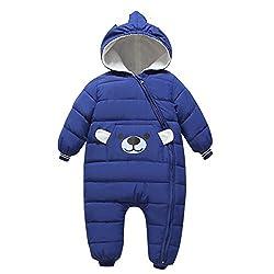 Bebone Baby Schneeanzug Jungen Strampler Mädchen Overall Winter Babykleidung (6-9 Monate, Dunkelblau)