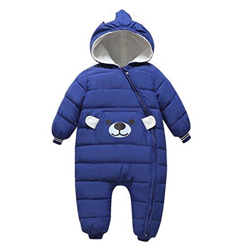 Bebone Baby Schneeanzug Jungen Strampler Mädchen Overall Winter Babykleidung (9-12 Monate, Dunkelblau)