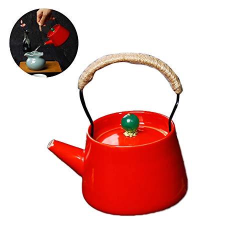 1PC Vintage Tetera de cerámica Final Mate Liso Tetera de Cobre de la manija del té Que Hace Las Herramientas Caldera de té con el tamiz por Loose (Rojo)
