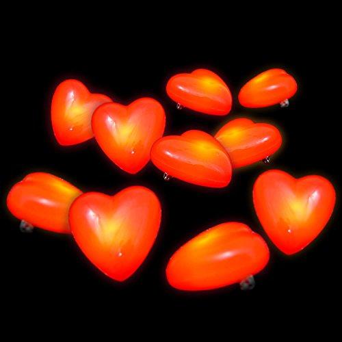 10 x LED Blink-HERZ rot - Herz-Brosche - Blinkherz - Blinkie Button - (Blinkende Herzen)