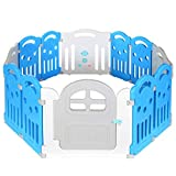 Grand Parc Bébé 12 Cotes avec Porte Pliable Enfant Plastique Xl