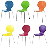 Hugo Vibrance Multi Coloured Dining Chairs, Set of 6, Stackable - Red, Purple, Orange, Green, Blue, Yellow - by FADS Homestyle