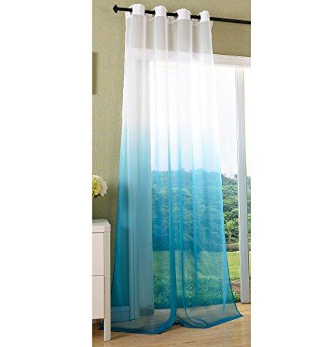 Vorhang transparent Farbverlauf Schal mit Ösen Gardine Voile, 245x140, Türkis, 20420