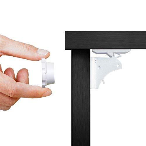 Unsichtbare magnetische Kindersicherung für Schrank, Kommode und Schubladen. Mit Magnetschloss ohne Bohren oder Schrauben. 4 Schlösser, 1 Schlüssel