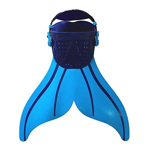 Coastacloud Kinder Flossen Schwimmflosse Leichtgewichts Reise Kurz Flossen für Schwimmen und Schnorchel (Blau)