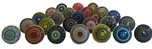 Knauf-Set, handgefertigt, Mandala-Design, bunt, Keramik und Metall, 20 Stück von Knobsworld