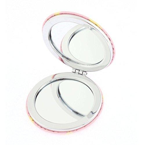 DealMux runder Entwurf Lippen Brief drucken Doppelseite Gefaltete Cosmetic Taschenspiegel