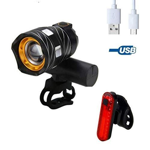HUANGS Wiederaufladbares USB-Fahrradlichtset, StVZO Zugelassen, 400 Lumen LED-Fahrradscheinwerfer Und 100 Lumen Rücklicht, Fahrradsicherheitslicht IP65 Wasserdicht, Mountainbike-Licht