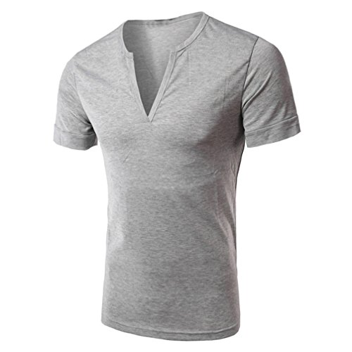 Ularma Herren Solid V Neck Slim Fit T-Shirt Casual Halb offen Top Grau