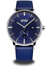 Mens Analogue Quartz Dress Wrist Watch - Business Classic Fashion Casual Watch with Blue Leather Band 30M Waterproof Date Calendar Wristwatch for Men