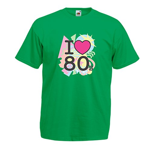 Männer T-Shirt Ich liebe 80er Konzert t-shirts Weinlese Kleidungs Musik t-shirts geschenke (Small Grün (1980er Kostüme Für Jahre Kinder)