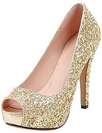 Kaizi Karzi Mujer Moda Plataforma Zapatos De Fiesta Peep Toe Zapatos De  Noche 25ca6a519cf6