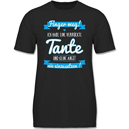 Verrückte Jungs T-shirt (Shirtracer Sprüche Kind - Ich Habe eine Verrückte Tante Blau - 128 (7-8 Jahre) - Schwarz - F140K - Jungen T-Shirt)