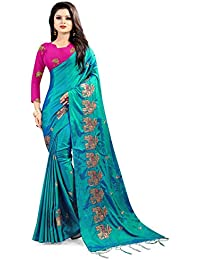 EyesOnMe Women's Paper Silk Saree With Blouse Piece