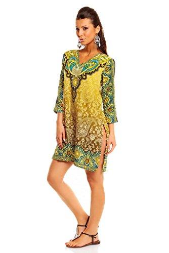 Damen Looking Glam Tribal Aufdruck Kaftan Tunika Sommer Top Midi Kleid - Größe 10 - 18 Grün