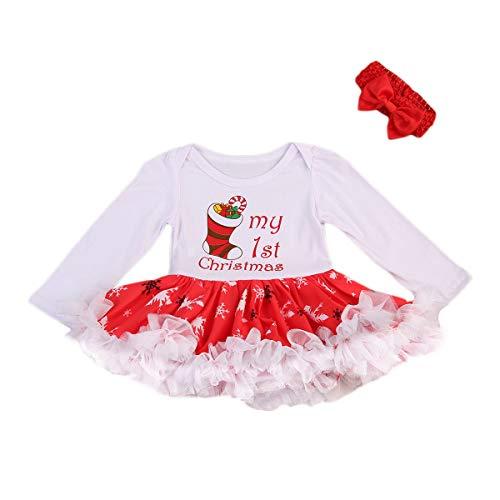 Vpuquuz 2 STÜCKE Neugeborene Weihnachten Mädchen Strampler Tutu Kleid Kleidung Stirnband Set Geschwollene Tulle Prinzessin Weihnachtskleid Kind für Baby (Weihnachtssocken Muster, 0-3M) (Kleider Geschwollene Prinzessin)