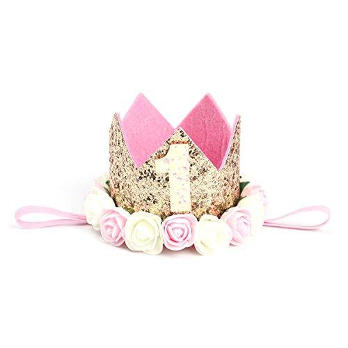 TOYMYTOY Princesa bebé flor corona diadema cumpleaños accesorios para el cabello un tipo 1 (dorado)