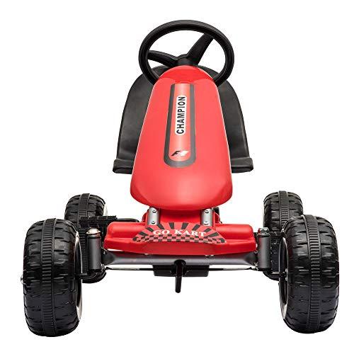 Missley Les Enfants Go Karts Mini Voiture à pédale 4 Roues pour 2-6 Ans (Rouge)