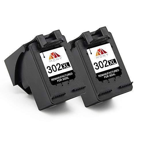 Mony Remanufactured Druckerpatronen Ersatz für HP 302 XL 302XL (2 Schwarz) für HP Deskjet 3630 3636 2130 1110 Envy 4525 4520 4524 4527 Officejet 4650 4658 3833 Drucker, Europäische Chipversion
