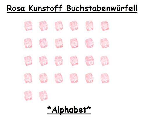 26 Stück Rosa Kunststoff Buchstabenwürfel Buchstabenperle *Alphabet* - 10mm, geeignet für Schnullerketten, Greiflinge u.v.m. (Abgerundete Alphabet-buchstaben)