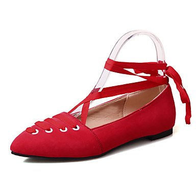 Comfortable and stylish Flat shoes Women's Flats Spring Summer Fall Winter Mary Jane Fleece Office & Career Party & Evening Dress Low Heel Lace-up Black Pink Red Gray Other , black , us8 / eu39 / uk6 / cn39