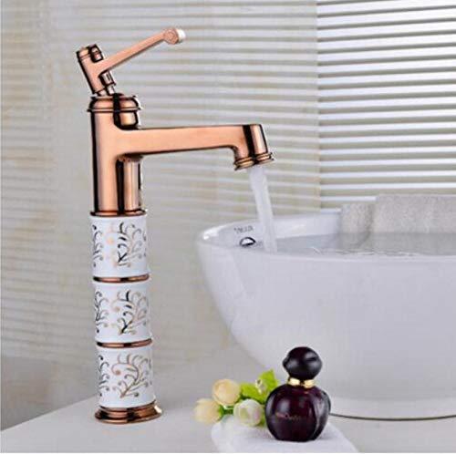 Wasserhahn Bad Waschbecken Wasserhähne Klassische Messing Keramik und BHs Wasserhahn Einhand-Warm-und Kaltwasserhahn Gold Waschbecken Mischbatterien -