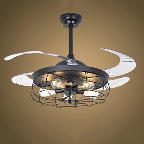 Deckenventilator Licht FJH Retro Heimlichkeit-Fan-Ausgangsindustrieller dekorativer Ventilator beleuchtet 42 Zoll E27 * 5 (Farbe : Remote Control) - Mit Bad-fan Licht Ruhiges