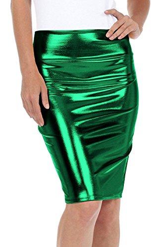 Fast Fashion - Haute Taille Regard Humide PVC Cuir Brillant Métallique Liquide Crayon Midi Jupe - Femmes Métallique Jade Vert