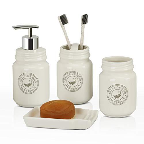 SHUSHU Nordic Keramik Bad waschen vierteilige Mode Flasche zahnbürste Tasse Lotion Flasche high-end Bad Set Geschenk (weiß, grau) (Color : White) -