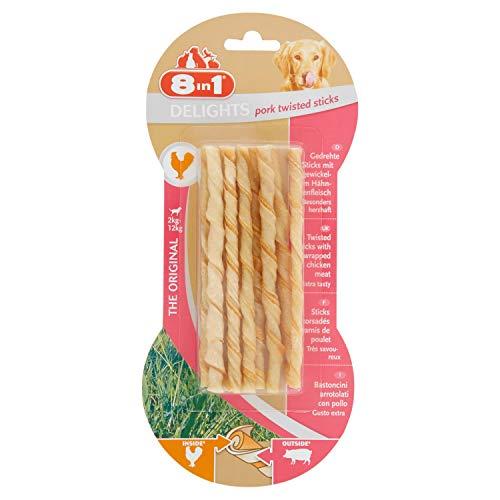 8in1 Delights Pork Twisted Sticks, gesunder Kausnack für Hunde, 10 Stück (55 g) -