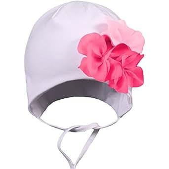 Baby Mütze zum Binden Mädchen Bindemütze mit Blume Ohrenschutz Kinder Erstlingsmütze Frühling/Herbst, Farbe: Blumen Weiß, Größe: 0 - 6 Monate