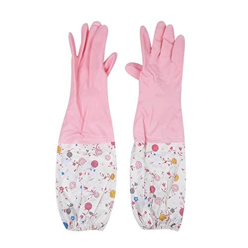 ACAMPTAR Blume Blumen Lange Stulpe Gummi Handschuhe Abwasch Handschuhe Küche Handschuhe (Lang Arm)