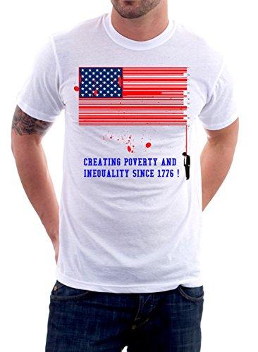 t-shirt No capitalismo, inequality - codice a barre, bandiera americana - simpatica maglietta tutte le maglie uomo donna by tshirteria bianco