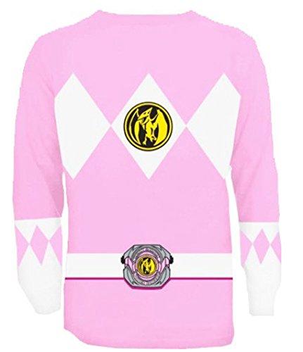 The Power Rangers Long Sleeve Ranger Kostüm Rosa T-shirt (Kostüm Power Ranger Rosa)