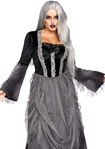 Leg Avenue 85635 Samt und Satin Viktorianisch Ballkleid, Damen Karneval Kostüm Fasching, L, schwarz/grau - Geraffte Rückseite Unten