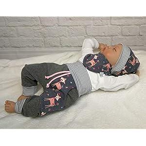 Baby Set Gr.50-104 Rehkitz Grau Rose´ Pumphose Mütze Halstuch Handmade Geschenkset Puschel-Design