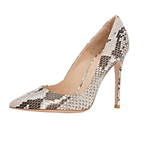 Kolnoo 100mm Damenschuhe Pumps Animal Print Python Schuhe mit Stiletto High Heels EU41 Python Stiletto Pumps
